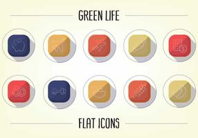 Vecteur d'icônes plates de mode de vie sain gratuit
