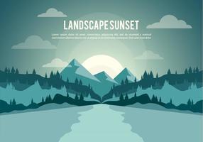 Fond de vecteur libre d'illustration de coucher de soleil de paysage