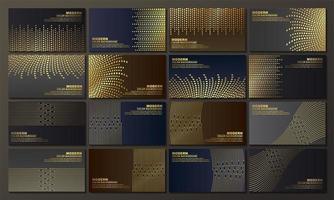 bannières sombres avec des lignes abstraites dorées