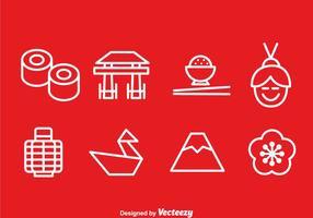 Vecteur d'icônes de contour japonais