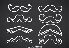 Movember Moustache White Line Vectors