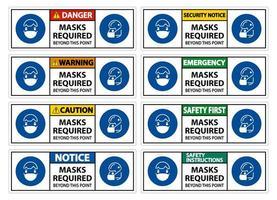 ensemble de signes de masque requis vecteur