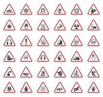 panneau d'avertissement serti d'icônes dans le triangle décrit rouge