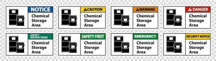 ensemble de signes de zone de stockage de produits chimiques