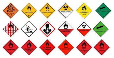 ensemble de pictogrammes d'avertissement de danger pour le transport