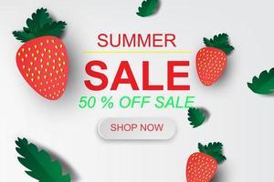 affiche de vente d'été art papier avec des fraises