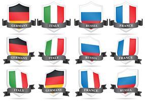 Boucliers de drapeau vectoriel