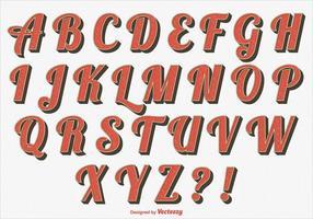 Ensemble Alphabet stylé rétro vecteur