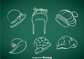 Chapeaux de dames Vecteur dessiné à la craie