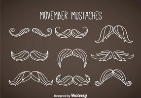 Movember Moustaches White Vector