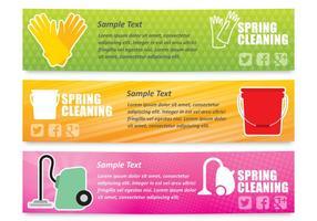 Bannières de nettoyage de printemps vecteur