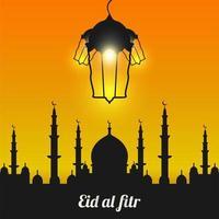 eid al-fitr avec silhouette de mosquée noire vecteur