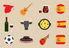 Vecteurs d'icônes espagnoles vecteur