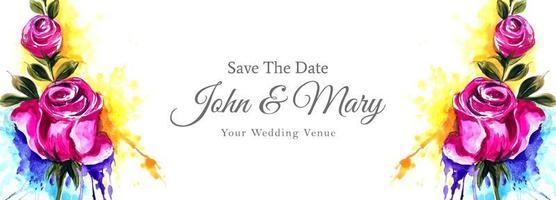 mariage coloré floral lumineux enregistrer la bannière de date