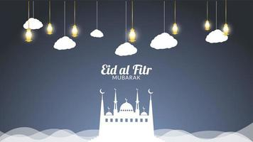Eid mubarak nuages et lanternes d'or