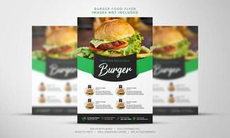 flyer burger en vert et noir vecteur