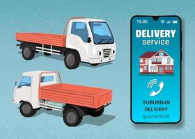 camion et téléphone pour livraison hors de la ville vecteur