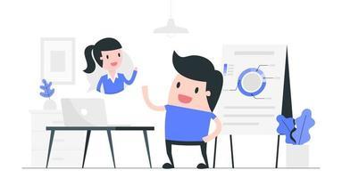vidéoconférence entre homme et femme vecteur