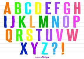 Ensemble alphabétique coloré à la main à la main de style Alphabet vecteur