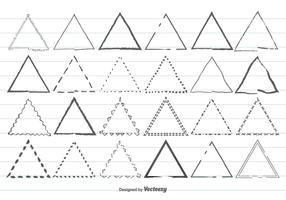 Ensemble de forme triangulaire à la main vecteur