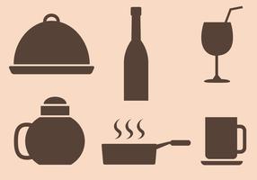 Vecteur libre d'icônes de restaurant