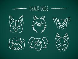 Icônes de dessin de craie des chiens