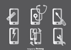 Ensembles d'icônes de réparation téléphonique vecteur