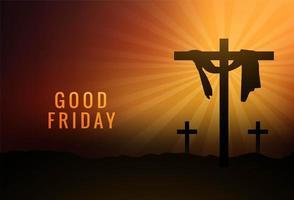 bon vendredi tissu accroché sur croix sur fond de coucher de soleil