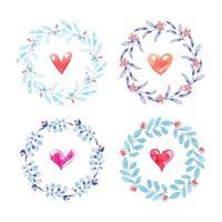 ensemble de couronnes florales avec des coeurs à l'intérieur