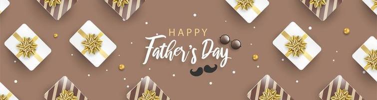 affiche de la fête des pères heureux bannière brune