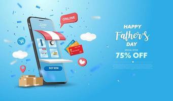 conception de téléphone intelligent de bannière de vente de fête des pères heureux