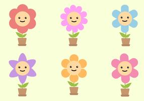 Vecteur de fleurs souriantes gratuites