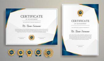 certificat d'appréciation bleu