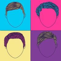 coiffures pop art pour hommes vecteur