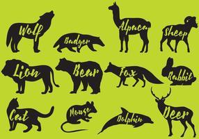 Silhouettes de mammifères avec noms vecteur