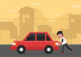 Vecteur homme poussant voiture