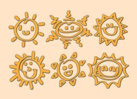 Vecteurs d'icônes de dessin animé de soleil