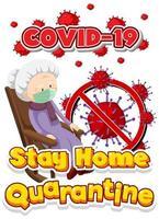 affiche de séjour à la maison covid-19 avec une femme âgée