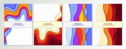 couvertures de couleur rétro avec un design découpé en papier ondulé