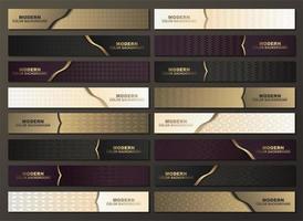 bannière à motifs horizontaux de luxe sertie d'accents dorés vecteur