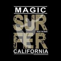 graphique de chemise de plage de surfeur magique californie