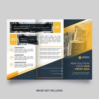 modèle de brochure à trois volets bleu avec des accents jaunes