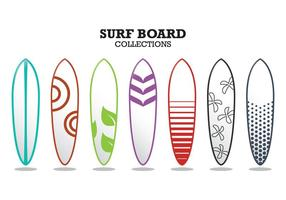 Collections de planche de surf vecteur