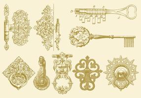 Hinges keys and knocker vecteur