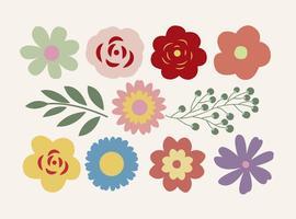 Ensemble mignon de formes de fleurs