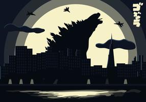 Vecteur d'illustration de fond de paysage Godzilla