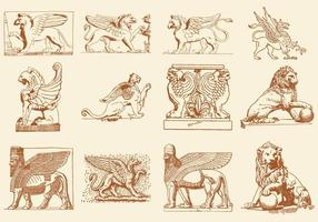 Statues De Lions Griffins Et Vecteurs De Dieu