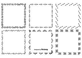 Ensemble de cadre de style dessiné à la main vecteur