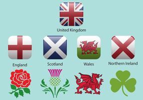 Drapeaux et emblèmes du Royaume-Uni vecteur