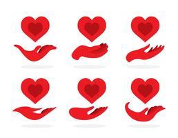 La main rouge donne des icônes vecteur